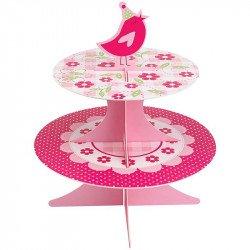 Support à gâteaux rose bonbon avec cupcake