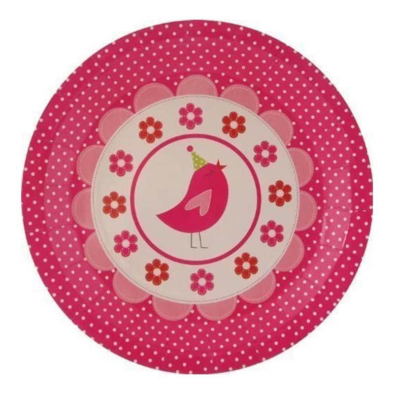 Assiette rose bonbon avec un cupcake dessus (x8)