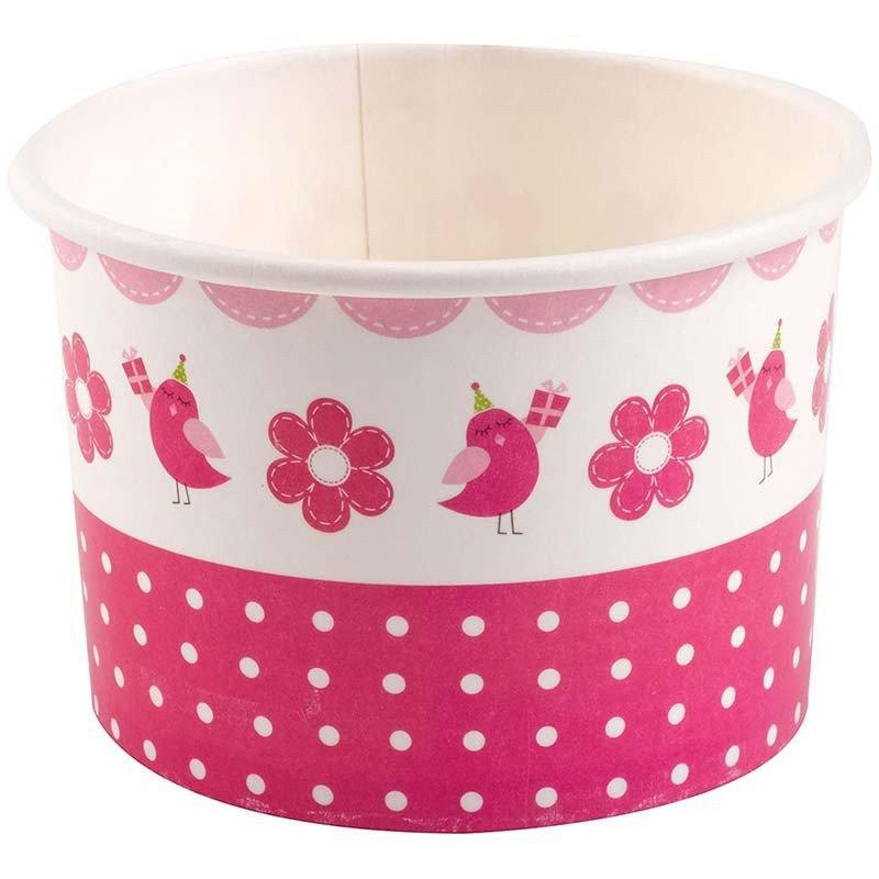 Coupe en papier rose bonbon sur une table (x8)