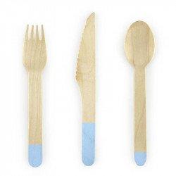 Couverts en bois (x18) - Bleu ciel