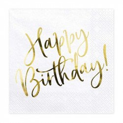 "Serviettes ""Happy Birthday"" dorées (x20)"