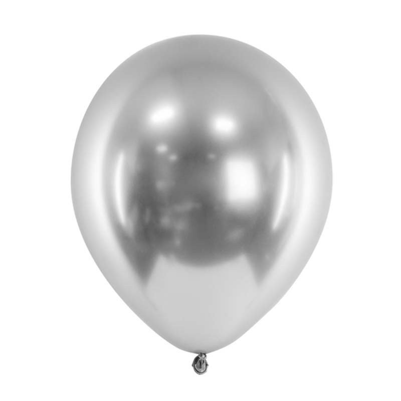 Ballons chromés - 30 cm (x3) Argent