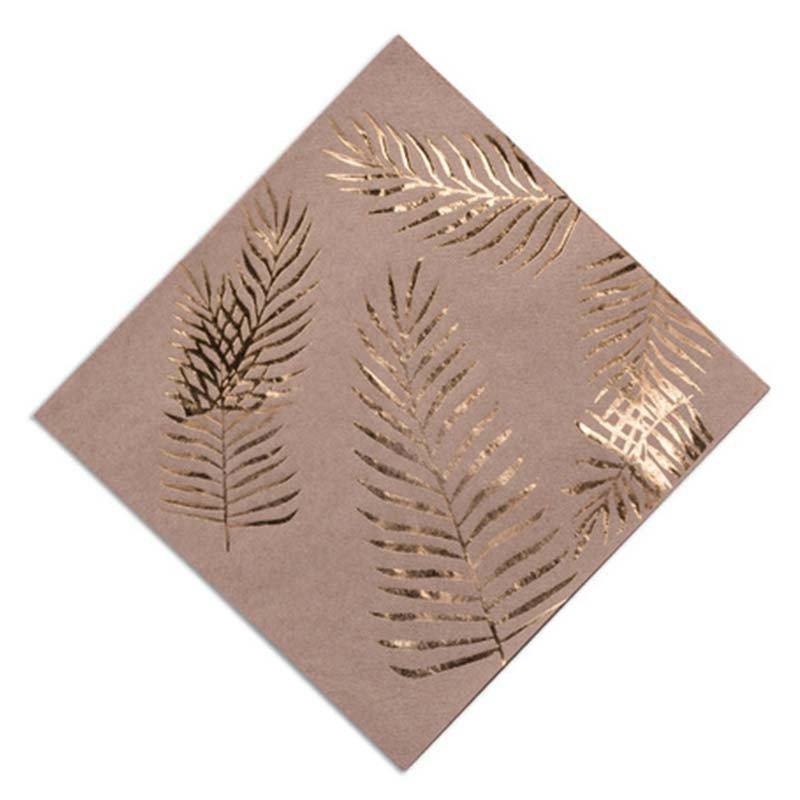 Serviettes Kraft Palmiers dorés Tropi Chic (x16)