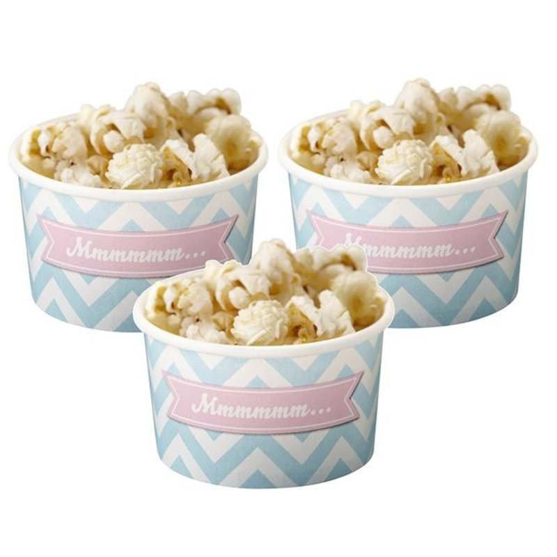 Coupes chevrons bleus avec des popcorn (x8)