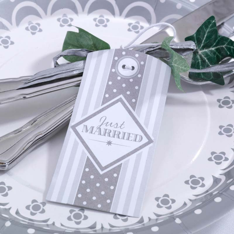"Étiquette Vintage ""Just Married"" argent"