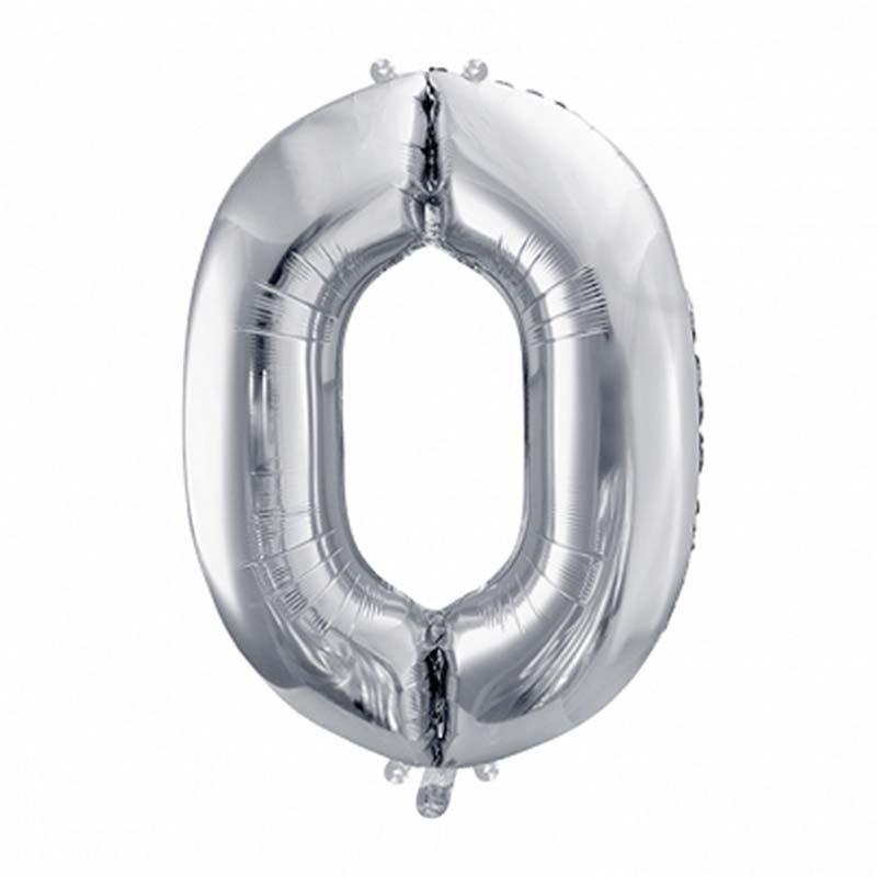 Ballons chiffres 0 argent -35 cm