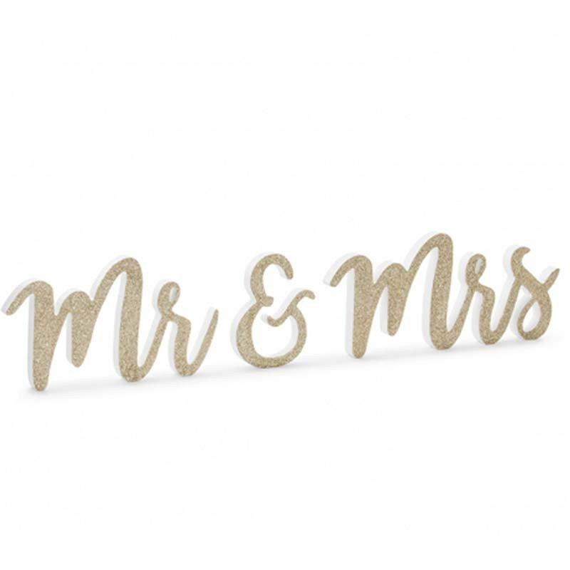 "Inscription en bois ""Mr & Mrs"" dorée"