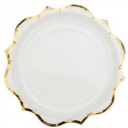 Assiettes liseré doré (x8) - Blanc