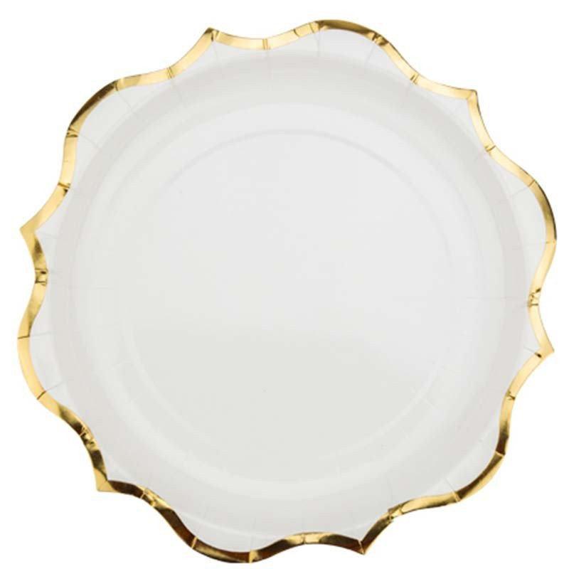 Assiettes blanches liseré doré (x8)