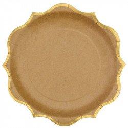 Assiettes liseré doré (x8) - Kraft