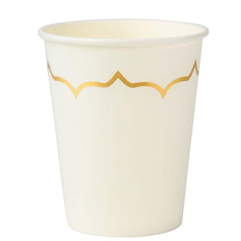 Gobelets blanc liseré doré (x8)