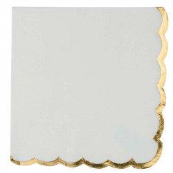Serviettes liseré doré (X16) - Blanc