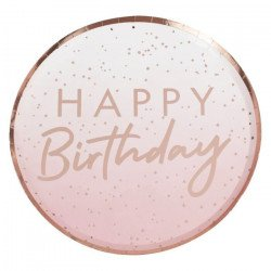 "Assiettes pois Rose Gold ""Happy Birthday"""