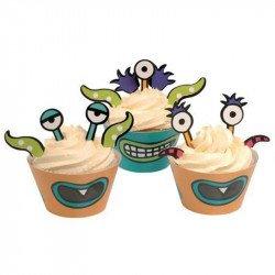 Cupcakes (x10) et pics à gâteaux Monstre (x30)