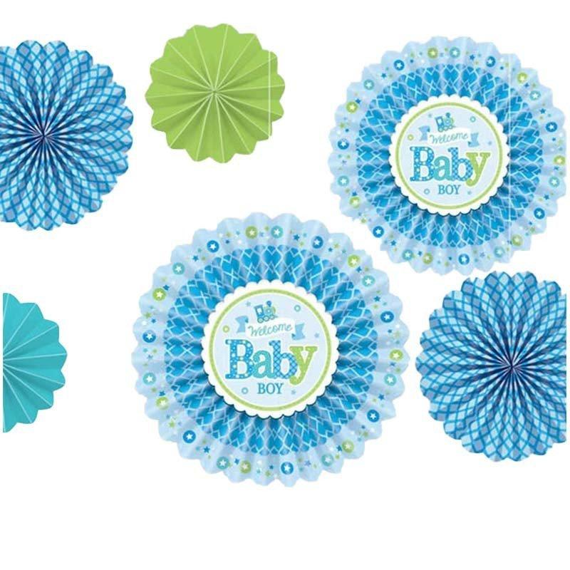 Eventails baby shower bleu
