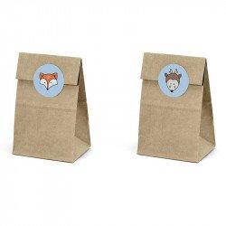 Pochettes cadeaux kraft et stickers (x6)
