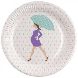 Assiettes Baby shower purple sur une table (x8)