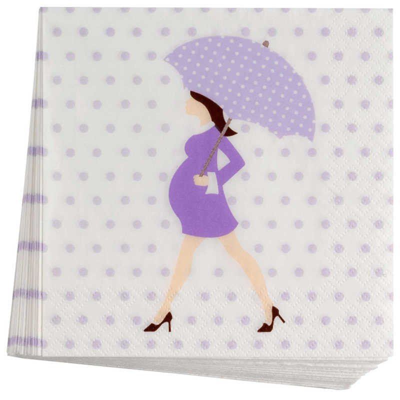 Serviettes baby shower purple sur une table (x8)