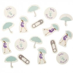 confettis baby shower purple répartis sur une table - sachet de 14g