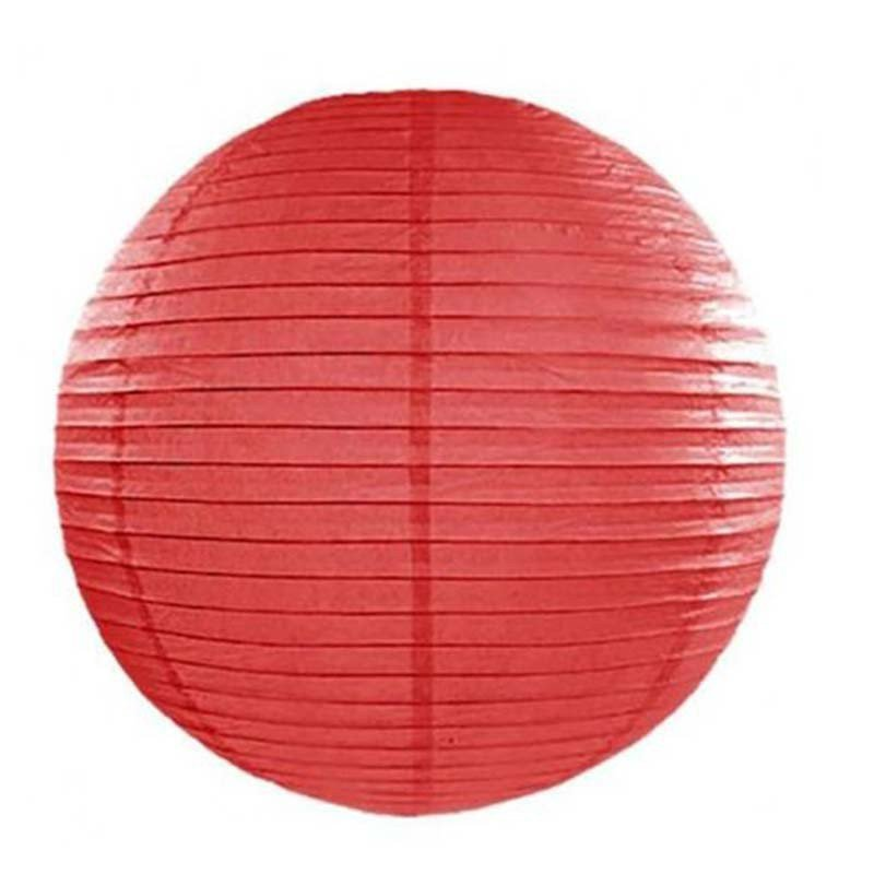 Lampion en papier uni rouge - 35 cm