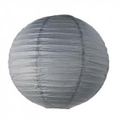 Lampion en papier uni - 60 cm - Gris