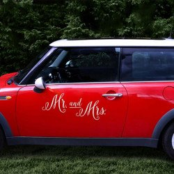 "Autocollant de voiture ""Mr. and Mrs."""