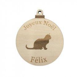 Boule de Noël chat en peuplier