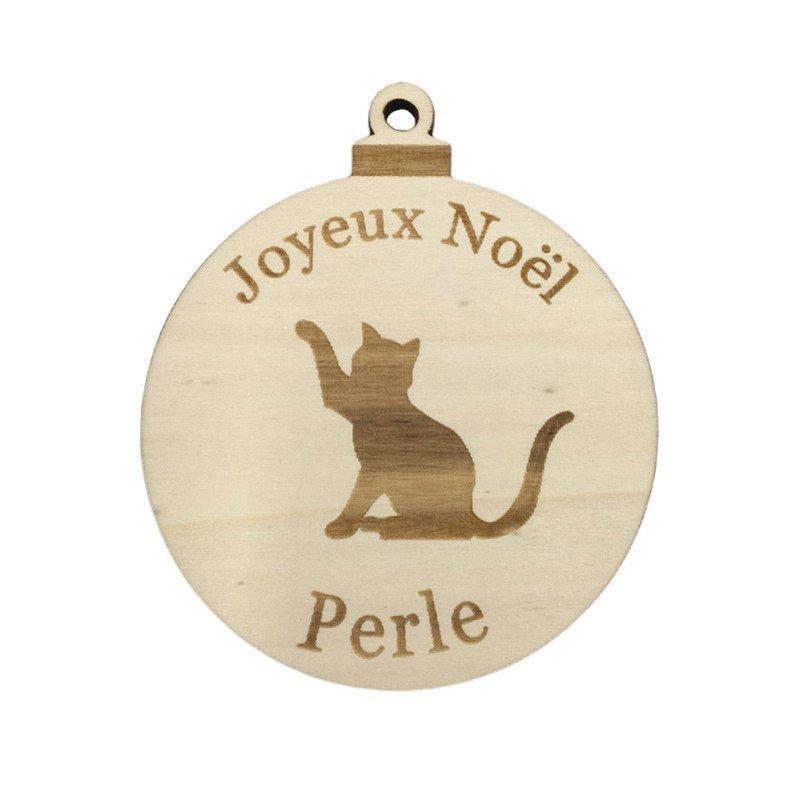 Boule de Noël chat joueur