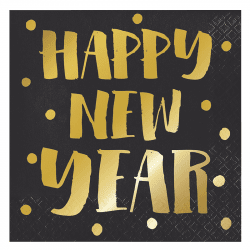"Serviettes noires ""Happy New Year"" (x16)"