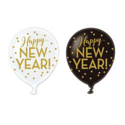 "Ballons Latex ""Happy New Year"" (x6)"