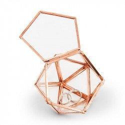 Mini terrarium géométrique porte alliances cuivré