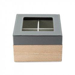Boîte en bois et similicuir avec couvercle
