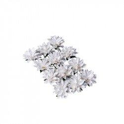 Fleurs blanches sur tige - 3,5 cm  (x12)