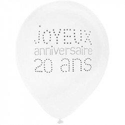 """Ballons """"Joyeux Anniversaire"""" 20 ans (x8)"""