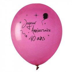"""Ballons """"Joyeux Anniversaire"""" 40 ans (x8)"""