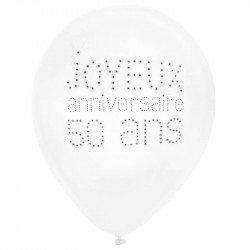 """Ballons """"Joyeux Anniversaire 50 ans"""" (x8)"""