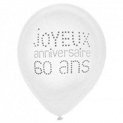 """Ballons """"Joyeux Anniversaire 60 ans"""" (x8)"""
