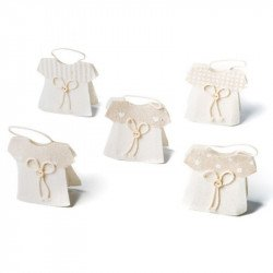 Contenants Dragées Petites Robes Lin (x5)
