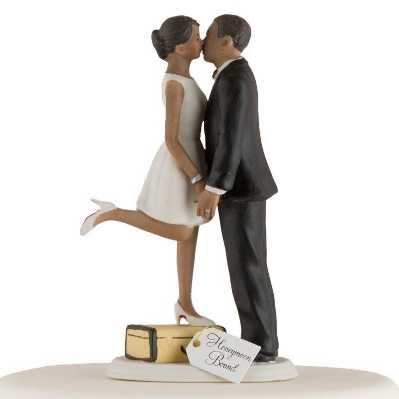 Figurine Pièce montée Les mariés en voyage peau noire