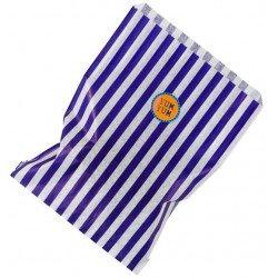 Sachets à bonbons rayés bleus et blancs (x12)