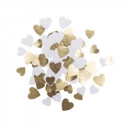 Confettis Petits cœurs papier blanc & doré