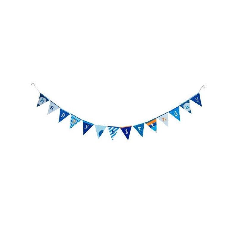 "Banderole ""Happy Birthday"" fanions bleus différents motifs"