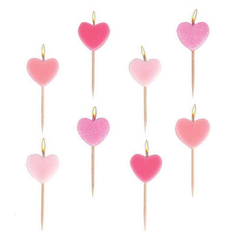 Bougies coeurs roses (x8)