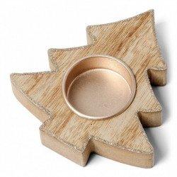bougeoir Sapin bois contour paillette cuivre - 10.5 cm