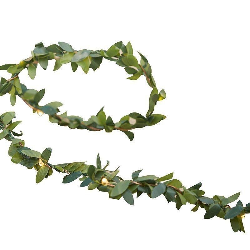 Guirlande de feuillages vertes leds