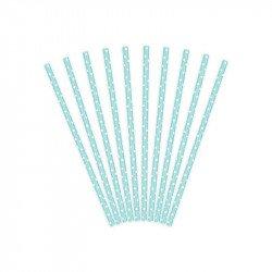 Pailles à pois retro Turquoise (x25)