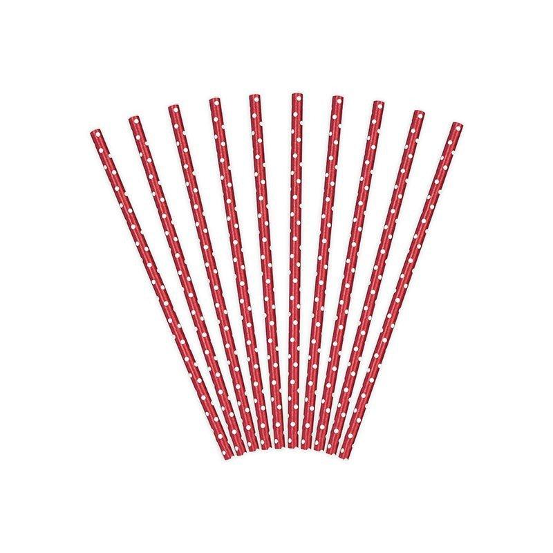 Pailles à pois retro Rouge (x25)