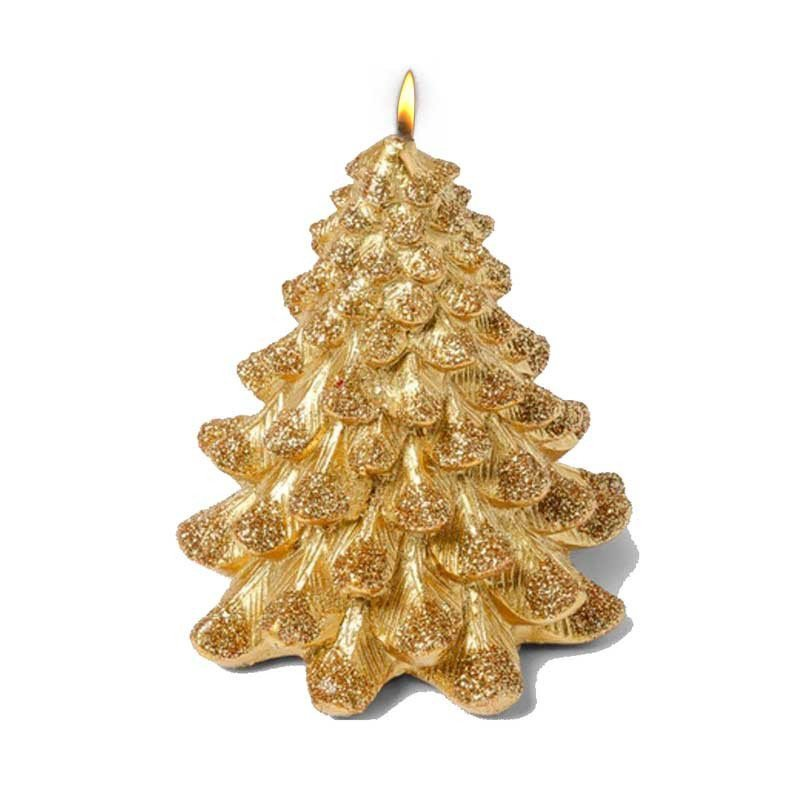 Bougie sapin paillettes OR