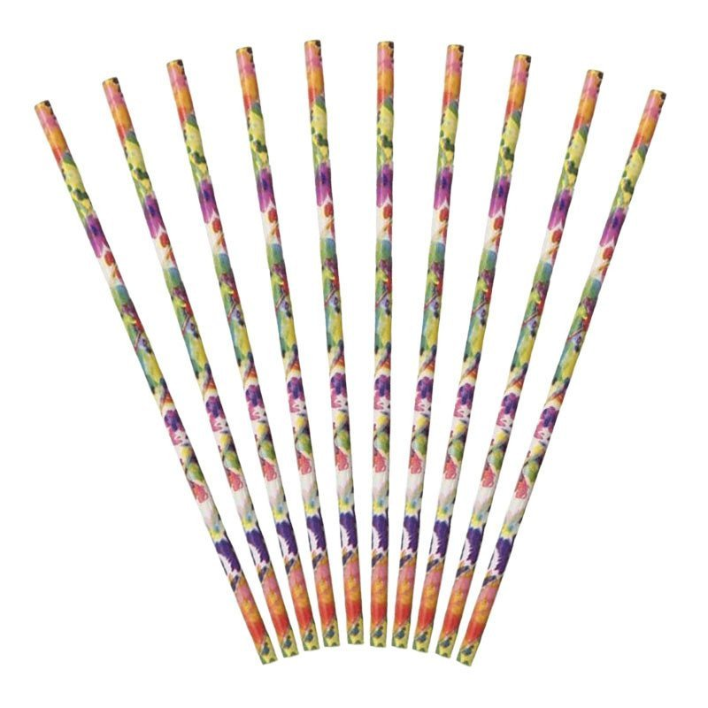 Pailles fleuries multicolores sous emballage (x30)