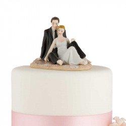 Figurine Couple Assis sur le Sable